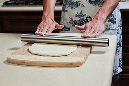 GA Homefavor 40 cm Mattarello in Acciaio Inox Ideale per Pasta, Pasticceria, Biscotti, Pizza - 1