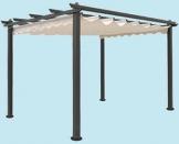Gazebo giardino alluminio Pergola cm 300x400 telo superiore scorrevole - 1