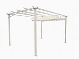 Gazebo Pergola da giardino 3X4 telo in poliestere 200 grammi e struttura in alluminio (bianco) - 1