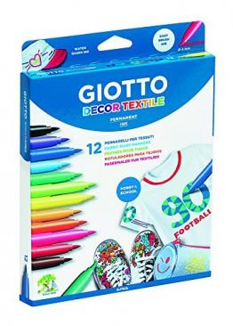 Giotto- Decor Textile Pennarelli per Tessuti (8 Colori Standard + 4 Colori Fluo) - 1