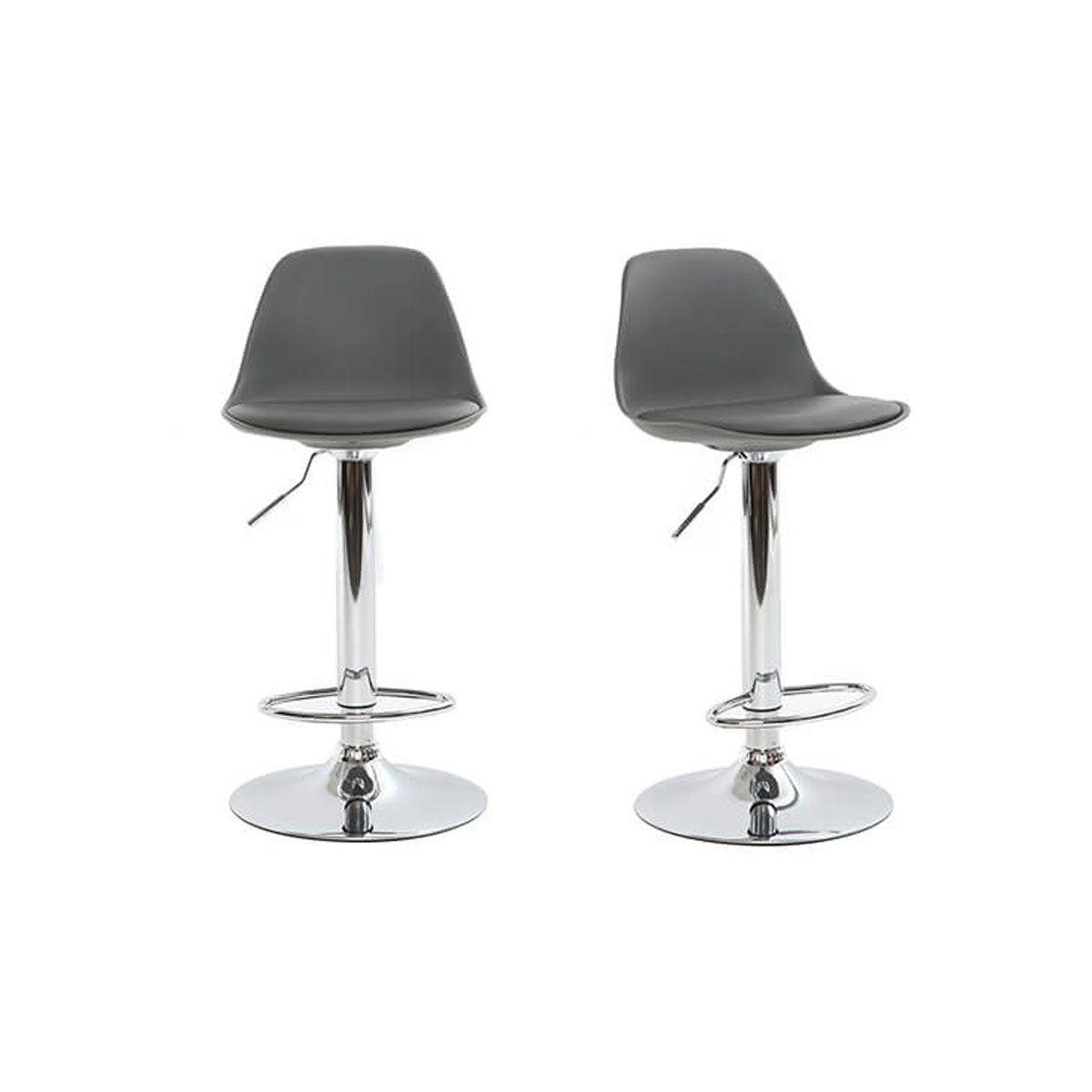 Gruppo di 2 sgabelli da bar design colore grigio STEEVY Sgabelli da bar