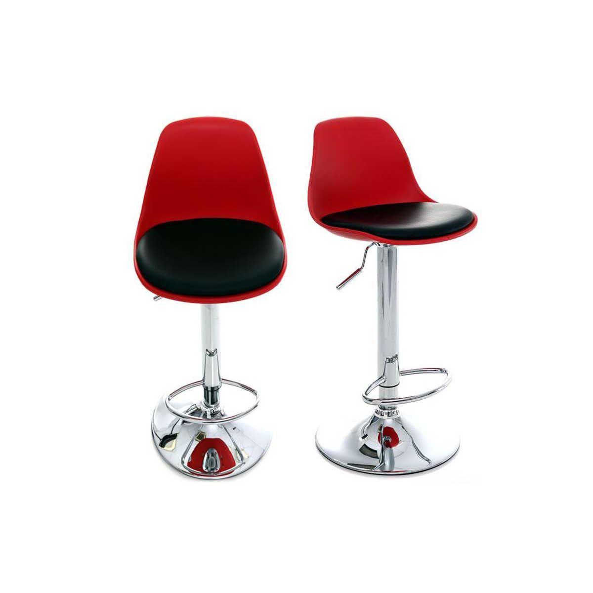 Gruppo di 2 sgabelli da bar design colore rosso e nero STEEVY Sgabelli da bar