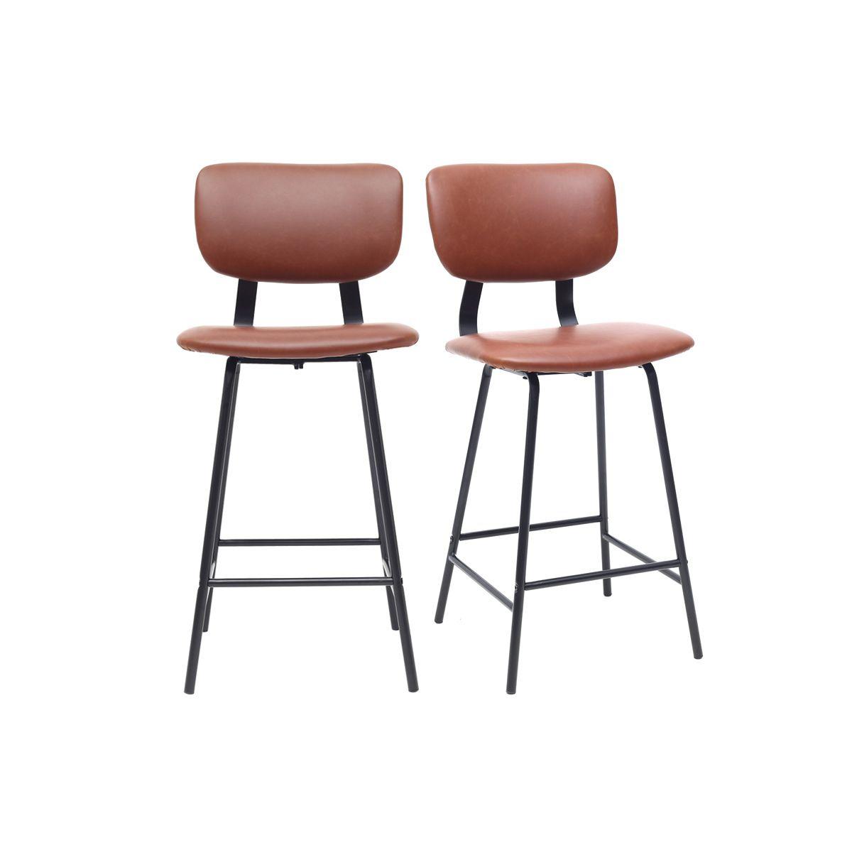 Gruppo di 2 sgabelli da bar vintage marrone chiaro con piedi in metallo 65cm LAB Offerte e sconti