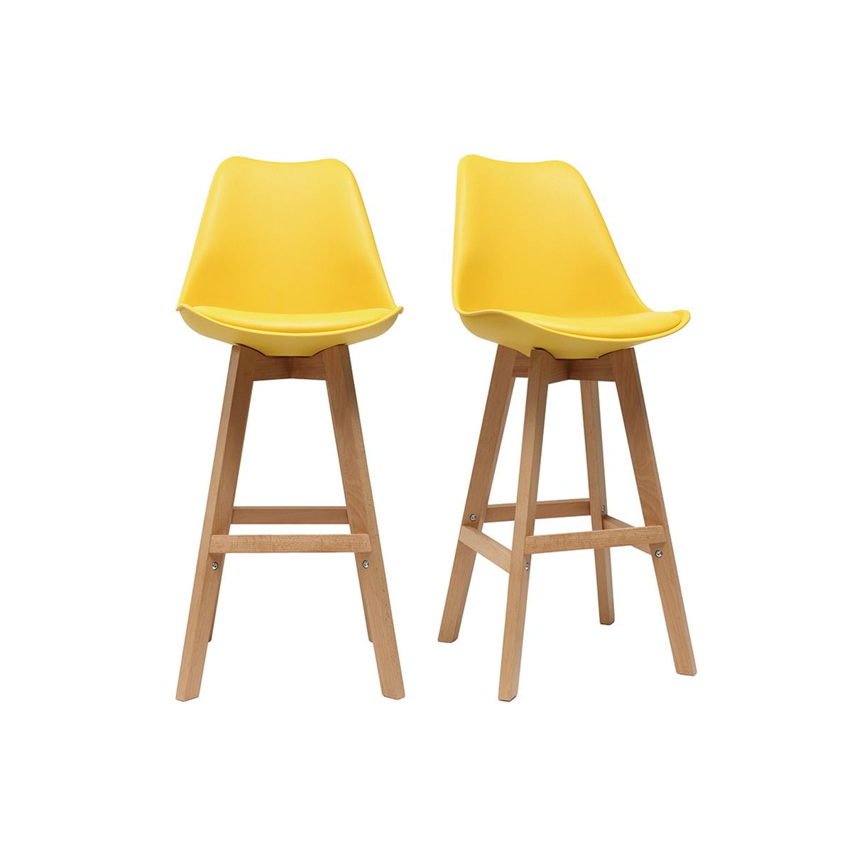 Dove acquistare Gruppo di due sgabelli da bar design giallo e legno 65cm PAULINE