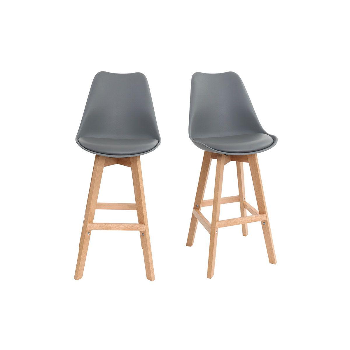 Gruppo di due sgabelli da bar design grigio e legno 65cm PAULINE Sgabelli da bar