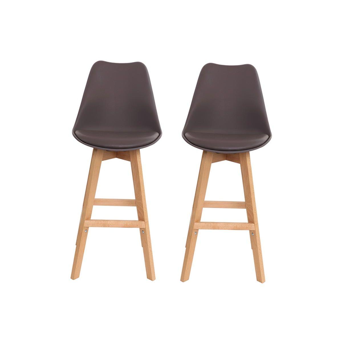 Dove acquistare Gruppo di due sgabelli da bar design marrone e legno 65cm PAULINE
