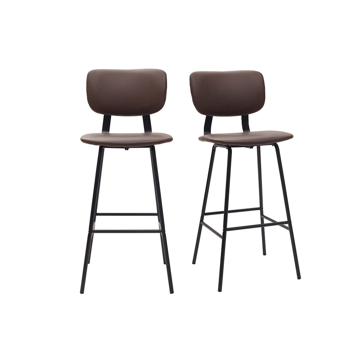 Gruppo di due sgabelli da bar marrone con piedi in metallo 75 cm LAB Sgabelli da bar