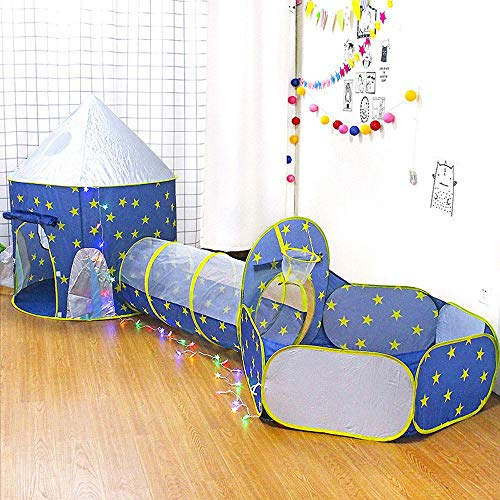 Hamkaw Tenda Bambini 3 in 1 Tunnel Bambini Gioco,Interno/Esterno Tunnel Gioco e Play Tent,Pop Up Tenda Gioco Bambino Richiudibile Kids Play House,Blu - 1