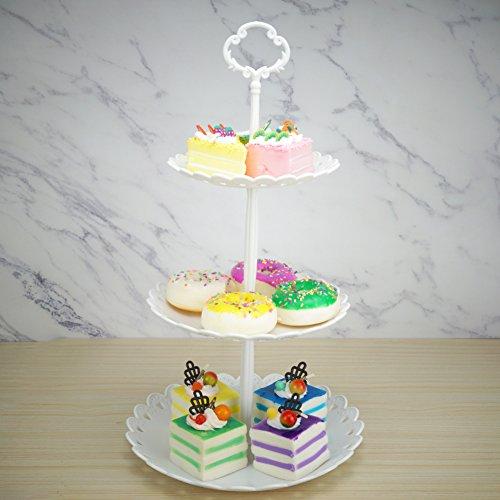 Hetoco 3-tier dessert in plastica bianca supporto pasticceria supporto alzata per torte cupcake e supporto piatto da portata per party wedding Home Decor White - 1