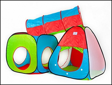 Inside Out Toys Childrens, Kids pop up Play tenda e tunnel set–in rosso/blu/verde - 6