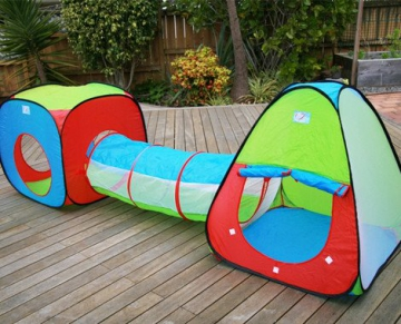 Inside Out Toys Childrens, Kids pop up Play tenda e tunnel set–in rosso/blu/verde - 5