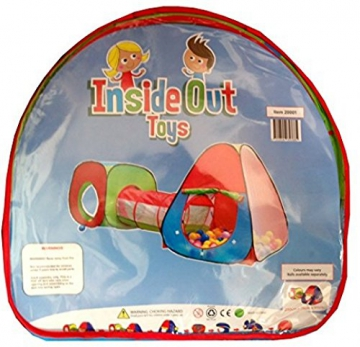 Inside Out Toys Childrens, Kids pop up Play tenda e tunnel set–in rosso/blu/verde - 7