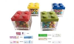 IRPot 24 X SCATOLINE PORTACONFETTI LEGO + 1 KG MINI NEMBO + 24 BIGLIETTINI - 1