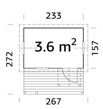 ITALFROM Casette di Legno Casetta Otto da Giardino per Bambini in Legno d'Abete 16mm-3,6MQ- 157X233cm - 2