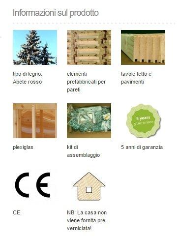 ITALFROM Casette di Legno Casetta Tom da Giardino per Bambini in Legno d'Abete 16mm-3,8MQ-180x220cm - 1