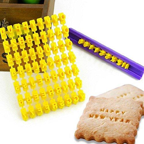 josep.h - Timbri con lettere dell'alfabeto e numeri a pressione, per decorare biscotti, colore: giallo - 1