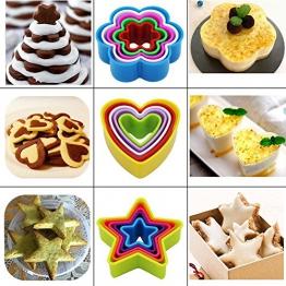 Kaishan - Set di 25 formine per biscotti, diversi motivi: a forma di stella, fiore, cuore, quadrate, rotonde, senza bisfenolo A, colorate - 1