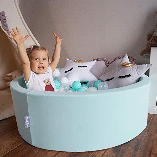 KiddyMoon 90X30cm/200 Palline ∅ 7CM Piscina di Palline Colorate per Bambini Tondo Fabbricato in EU, Grigio Chiaro: Trasparente-Grigio-Bianco-Rosa-Menta - 1