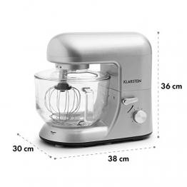 Klarstein Bella Argentea 2G • Miscelatore cucina • Macchina per impastare • 1200 W • 5,2 litri • 6 livelli • vassoio in vetro • sistema sgancio rapido • agitatore pressofuso e gancio • argento - 1