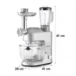 Klarstein Lucia Argentea 2G • Miscelatore da cucina universale • Macchina per impastare • 1200 W • 5,2 litri • 6 livelli • vassoio in vetro • sistema sgancio rapido • contenitore 1,5 litri • argento - 1