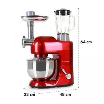 Klarstein Lucia Rossa • robot da cucina • mixer • impastatrice • 1200 W • 5 L • sistema planetario • tritacarne • ganci per pasta • shaker da 1,5 L • velocità regolabile • rosso - 1