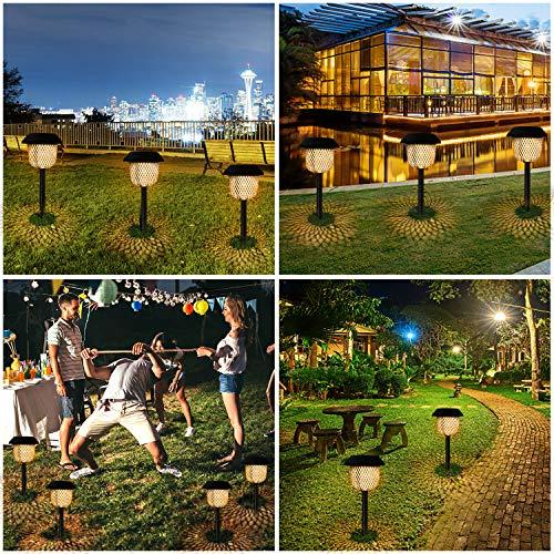 Lampada solare da giardino, Golwof 6 pezzi LED luce solare bianco caldo solare lanterna Stake impermeabile IP44 lampada solare Stake illuminazione per esterni Villa prato marciapiede - 1