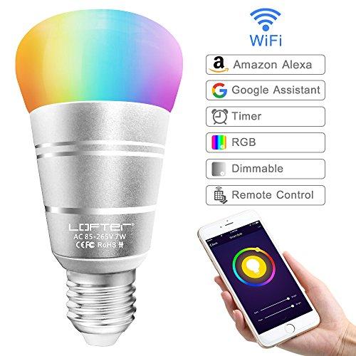 Lampadina Intelligente, LOFTer Lampadina Smart WiFi E27 RGB 7W, Lavora con Echo Alexa/Google Home, Luce Regolabile Compatibile per Dispositivo iOS Android App Controllata, Regalo San Valentino - 1