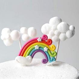 LAOZHOU Cloud Rainbow Unicorn Cake Toppers Kit Decorazione di Torta per Bambini Ragazze Compleanno Baby Shower Festa di Nozze di Cottura Decorazione Forniture (Set di 5) - 1