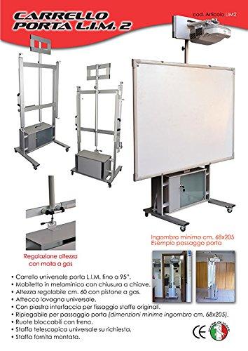 LIM2 Carrello con mobile porta lavagna interattiva multimediale ripiegabile per il passaggio sotto porta - alzata assistita - 1