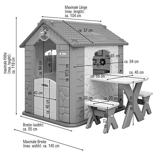 LittleTom Casetta Gioco per Bambini e Bambine incl 1 Tavolo 2 sgabelli casa di plastica per Interni ed Esterni Verde Beige - 1