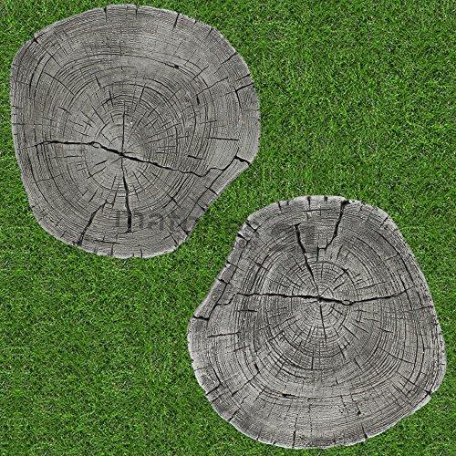 matches21Albero dischi XXL mattonelle effetto legno/legno 2coppie (4PZ.) Scaletta di calcestruzzo pietre da giardino Ø 30cm pietre decorative a pedale - 1
