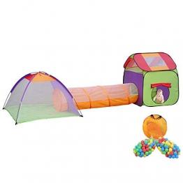 MC Star Pieghevole per Bambini Tenda Pop-up Parco Giochi per Bambini Tunnel Casa dei Giocattoli e Piscina Interna ed Esterna, 3 Parti + 200 Palla Oceanica - 1