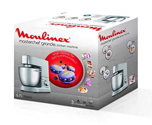 Moulinex MasterChef Grande Impastatrice Planetaria, 1500 W, 6.7 Litri, 8 velocità, Grigio - 1