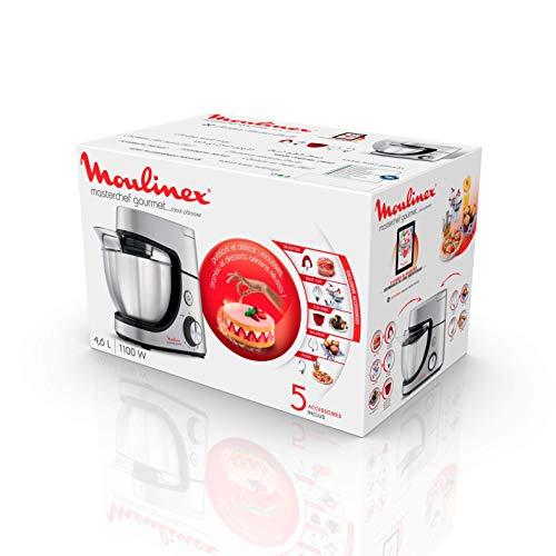 Moulinex QA530D Masterchef Gourmet, Impastatrice Planetaria, con Tecnologia Flex Whisk, Dotato di Kit per la Miscelazione, Capacità 4.6 L - 1