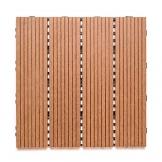 MSA Sam - Piastrelle da Giardino in plastica WPC, Set Risparmio da 11 Pezzi per 1 m2, Colore Teak, Piastrelle a clic - 1