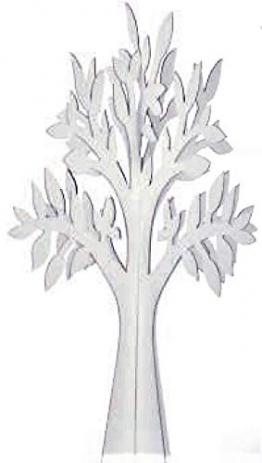 N.1 Albero Decorativo in Cartone Colore Bianco CM 58,5 Made in Italy ALLESTIMENTO Matrimonio Tableau Mariage E VETRINE - 1