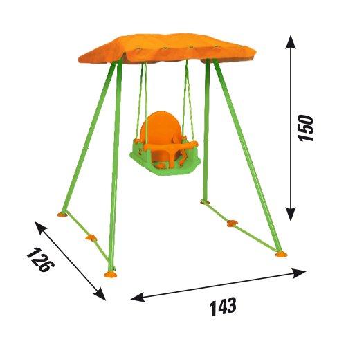 New Plast AMB1319 - Altalena Pieghevole Libellula con Parasole e Seggiolino di Sicurezza 3 in 1 - 1