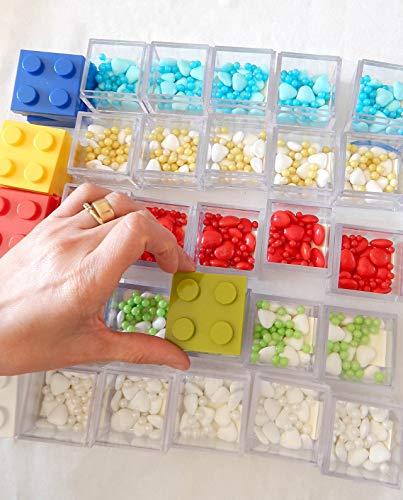 Omada Design scatolina tipo mattoncino in plexiglas (48 PEZZI) trasparente formato 5 X 5 X 5 cm, per bomboniere,made in Italy by Adamo,colori verde,blu,giallo e rosso. - 1