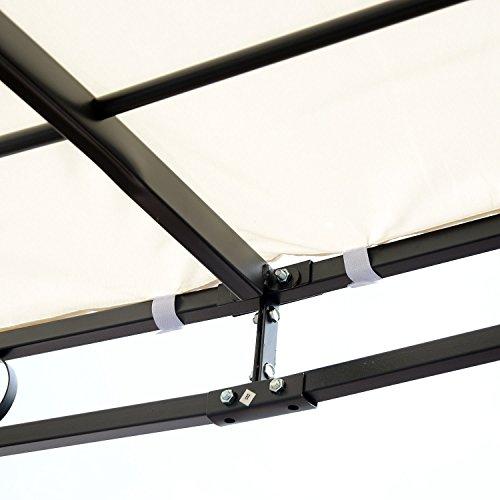 Outsunny Gazebo Pergola da Giardino Gazebo per Fissaggio a Muro, con Telo in Poliestere Impermeabile, 297 x 297cm - 1