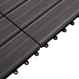 Outsunny Piastrelle da Giardino Incastrabili Set da 11 Mattonelle per Esterno 30x30cm Marrone - 1