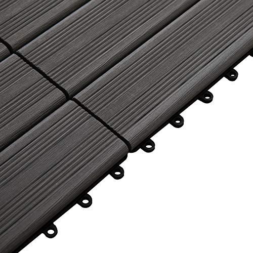 Outsunny Piastrelle da Giardino Incastrabili Set da 11 Mattonelle per Esterno 30x30cm Grigio - 1