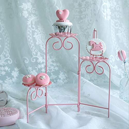 P Prettyia Alzata per Torta 3 Piani di Ferro Pieghevole per Decorazione delle Torte e Presentazione di Dolci, Espositore per Cupcakes, Biscotti - Rosa - 1