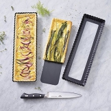 Paderno 47717-35 Tortiera Antiaderente con Fondo Mobile – Stampo rettangolare per dolci e torte salate 35 x 11 cm, Altezza 2,5 cm, colore nero - 1