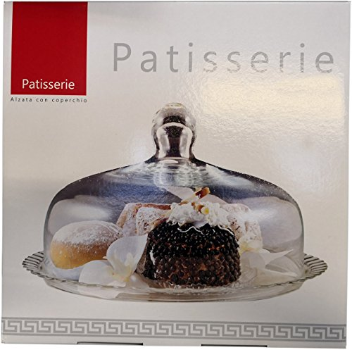 PATISSERIE ALBA Piatto da portata dolci e torta completo di campana patisserie diametro 28cm MADE IN ITALY - 1
