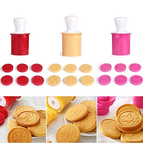 Per i biscotti, 6pcs/set 3D Cartoon Cookie stampo in silicone a forma di albero di Natale, stencil cutter Circle Hand Press, pasticceria fondente cottura Mold, Yellow, 4.92 * 2.17in - 1
