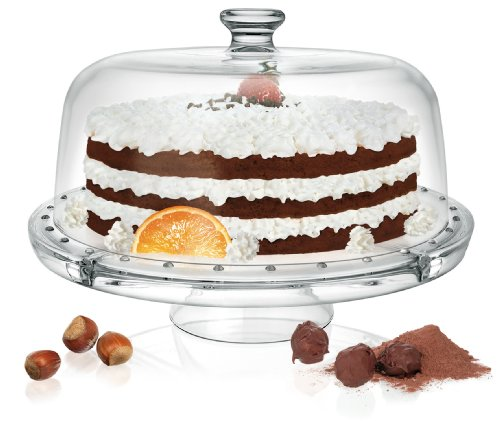 Piatto per dolci 4in 1per torta / da portata + campana in vetro - 1