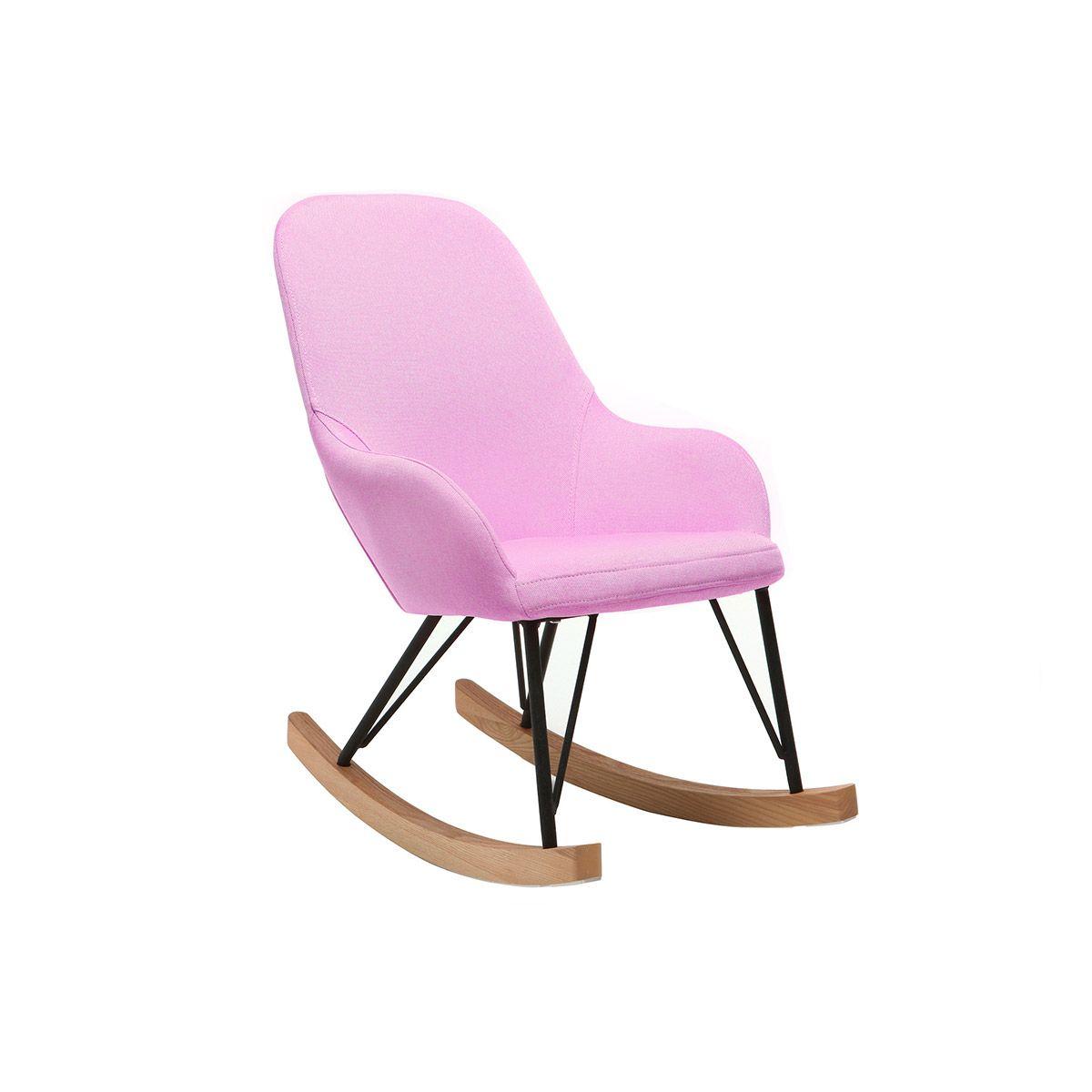 Poltrona relax – Baby sedia a dondolo tessuto rosa gambe in metallo e frassino JHENE Offerte e sconti