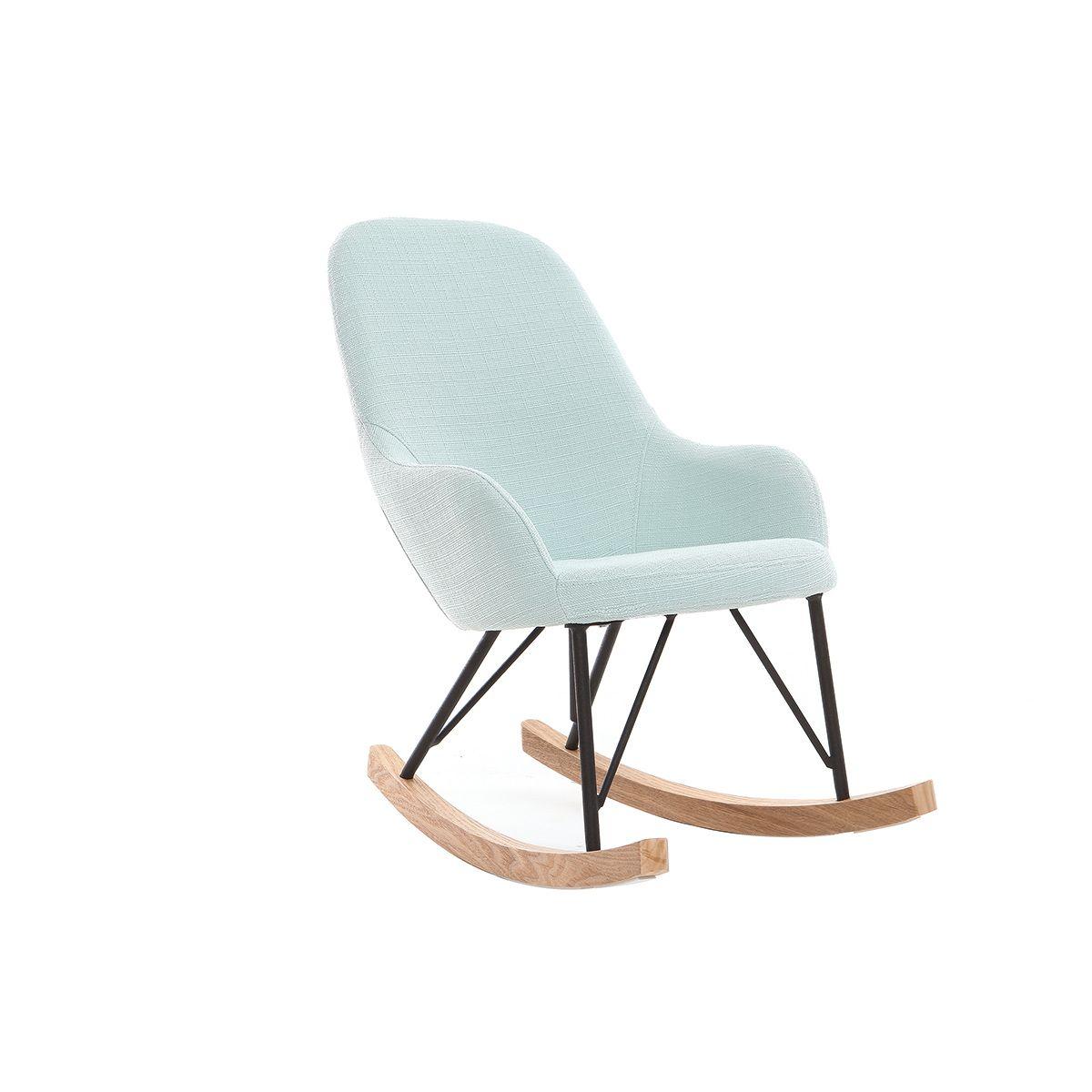 Poltrona relax – Baby sedia a dondolo tessuto verde acqua gambe in metallo e frassino JHENE Offerte e sconti