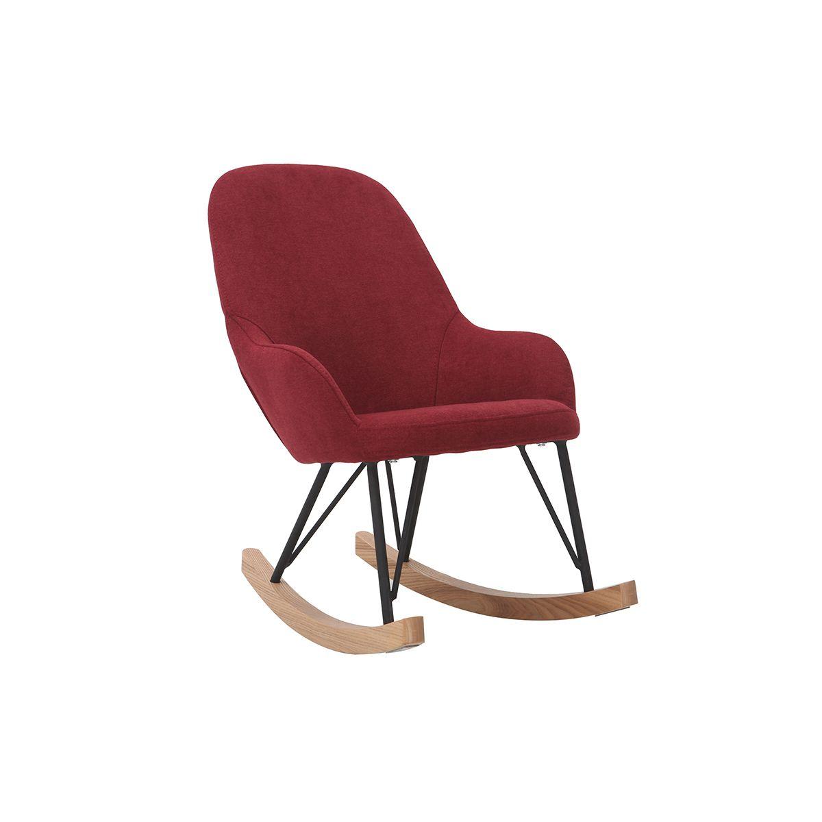 Poltrona – sedia a dondolo per bambini bordeaux piedi in metallo e legno JHENE Arredo cameretta e accessori