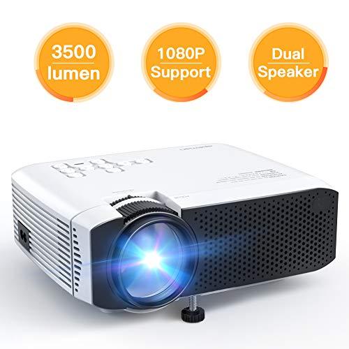 Proiettore APEMAN 3500 Lumen Mini Portatile Videoproiettore con Doppio Speaker Durata del LED fino a 50000 Ore di Cinema Domestico Compatibile con 1080P HDMI USB VGA SD Supporto Android IOS TV Box - 1
